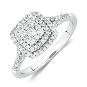 Square Diamond Cluster Ring